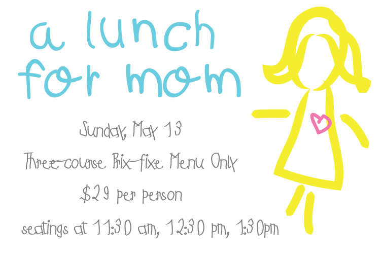 A Lunch for Mom      The National will be open for a special lunch on Mother's Day  Sunday, May 13   Three-course Prix-fixe menu only   $29 per person  Seatings at 11:30 am, 12:30 pm, 1:30 pm        1.      spring salad   local lettuces, local strawberries, feta, pecans, Vidalia, rhubarb-sherry vinaigrette     or     cucumber gazpacho   lobster relish      2.      roasted local chicken breast   chickpeas and okra with yogurt and harissa, arugula and radishes    or     Georgia shrimp   sauteed with Spanish chorizo, caramelized onion and roasted red pepper broth, local grits with mascarpone and grilled corn       3.      local blueberry shortcake   lemon cream    or     chocolate mousse   mint whipped cream and cocoa nibs