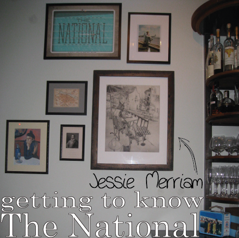 This week, we get to know Jessie Merriam, the red-headed waitress behind The National's chalkboard art of old and the front of house staff schedule each week. Somehow she also finds the time to create beautiful prints and study English at UGA.     What inspires your art, particularly the print that now hangs in the bar at The National?     The print hanging in the bar is the image of a cat, truly a lynx, inspired by the well-known image of the Parisian absinthe drinker. I wanted the lynx to look a bit snobby, like a faux-British dandy, similar to T.S. Eliot. Much of my work is inspired by the notion of animals doing human things. I think it forces you to think another way about an otherwise typical action. And it allows me to do portraits in a new way. Another image of this dandy artist lynx is hanging in The Four Coursemen House.       How did you end up at The National?     I studied printmaking, bookmaking, and letterpress at UVA and the Virginia Arts of the Book Letterpress in Charlottesville, Virginia. In 2007, I decided to move to Athens for something new. That year, just before The National opened, I was working at Bistro, a restaurant that was on Prince where A Tavola is now. My friend Lilly Kaplan, who worked at The Five and Ten, told me about the plans for The National, and I applied. I was one of the first group of servers at the restaurant, so I got to sit down with Chefs Hugh Acheson and Peter Dale at the first tasting of all the menu items, and listen to them really describe the ethos of the restaurant.      What distinguishes The National from other restaurants?     The nature of the staff, the food and the space all affect the overall experience. I think the layout of the interior, with a separate lively bar is unique. And our location allows us to crossover into the downtown Athens scene. We're in a setting that is as urban as downtown Athens can be. People come to hang out at The National, especially the employees. We are open later, sometimes we have parties…this makes it comfortable. Although the food is exceptional and the restaurant is great for a special night out, there is not so much pressure on the experience. It's easy to relax and enjoy a good meal. And there's definitely an intimacy between patrons and the staff. The regulars all have their favorite restaurant personalities, their favorite servers. People can't wait to see Zach and Cameron at the bar, or have Jill wait on them.      So the staff truly influences in the overall vibe of the restaurant?     Definitely. It all stems from Peter, the most laid back, yet passionate chef I've ever worked with, and it really comes through in the food and the atmosphere of the restaurant. The structure of the staff is important. Similar to The Five and Ten, we have a close knit group of servers, and the front of the house and back of the house are not so divided as in some restaurants I've worked in. There are no managers so everyone takes responsibility and helps each other out. Everyone has their heart in the food and no one is jaded. We aren't rule-oriented and manage to maintain a sense of humor while being seriously committed to the success of the restaurant. I think this creates a nice balance that our customers notice and appreciate. The culture of the staff is clear; when new people are hired, they quickly learn.      What do you like most about the style of food?     I love that Peter offers food in cycles, from experimental or a little out there to very Southern or Mediterranean inspired. We can serve bone marrow and baked baby octopus on the same menu as a classic steak and potatoes dish…and people order the bone marrow! I like the Morrocan and Spanish side of our food the most. Many restaurants do Spanish tapas, but our Middle Eastern flavors bring a fresh taste to a southern town. The menu really reflects Peter's travels.     What's your favorite dish, of past or present, at The National?     Of all time, it has to be the Leg of Lamb served with a muhamara sauce over roasted cauliflower, couscous with mint, crushed walnuts, roasted red peppers and pomegranate molasses. Every year I ask Peter if he'll bring it back. My favorite repeat staple would be the Gambas al Ajillo, which are always delicious.      In this photo…  Print by Jessie Merriam hanging in the bar at The National