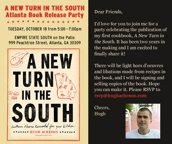 "Chef Hugh Acheson's new cookbook, A New Turn in the South, is finally here! From the clean yet intimate design aesthetic to the gorgeous photos of food and friends to the veritable treasure trove of contemporary Southern recipes, we all want to get our hands on this book. These days it seems most of America knows Hugh and his unibrow, but we'll always call him our own. Autographed copies of A New Turn in the South are available for purchase at The National for $35. Drop by and get one today or head to the book release party at Empire State South in Atlanta tonight! ""It's rare to find a chef's cuisine and his place—Athens, GA—so in step with each other: unmistakably Southern and yet unlike anywhere else in the South. That A New Turn in the South brings Hugh's extraordinary kitchen sorcery into our home kitchen is nothing short of a miracle!"" —Matt and Ted Lee (The Lee Bros.)"