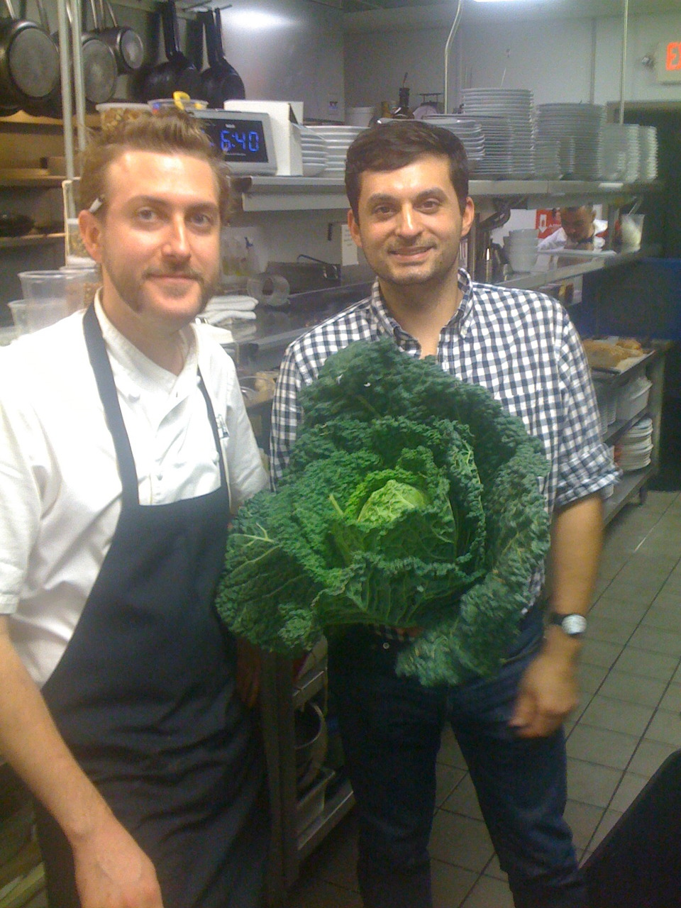 Patrick Stubbers (sous chef at The National), me, and a beautiful savoy cabbage (a gift from our farmer friend, Michael McMullen)