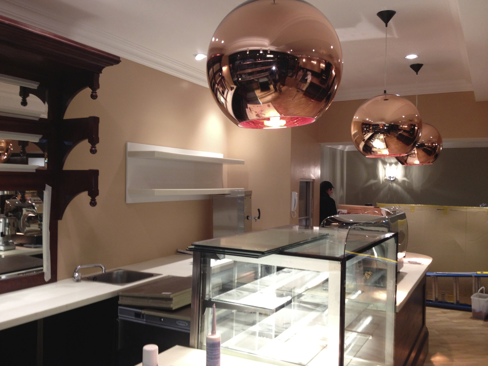#NHRenovations #Painter #Decorator #London #Gloucester #PatisserieValerie #Shop #FrontDesk #CopperLighting