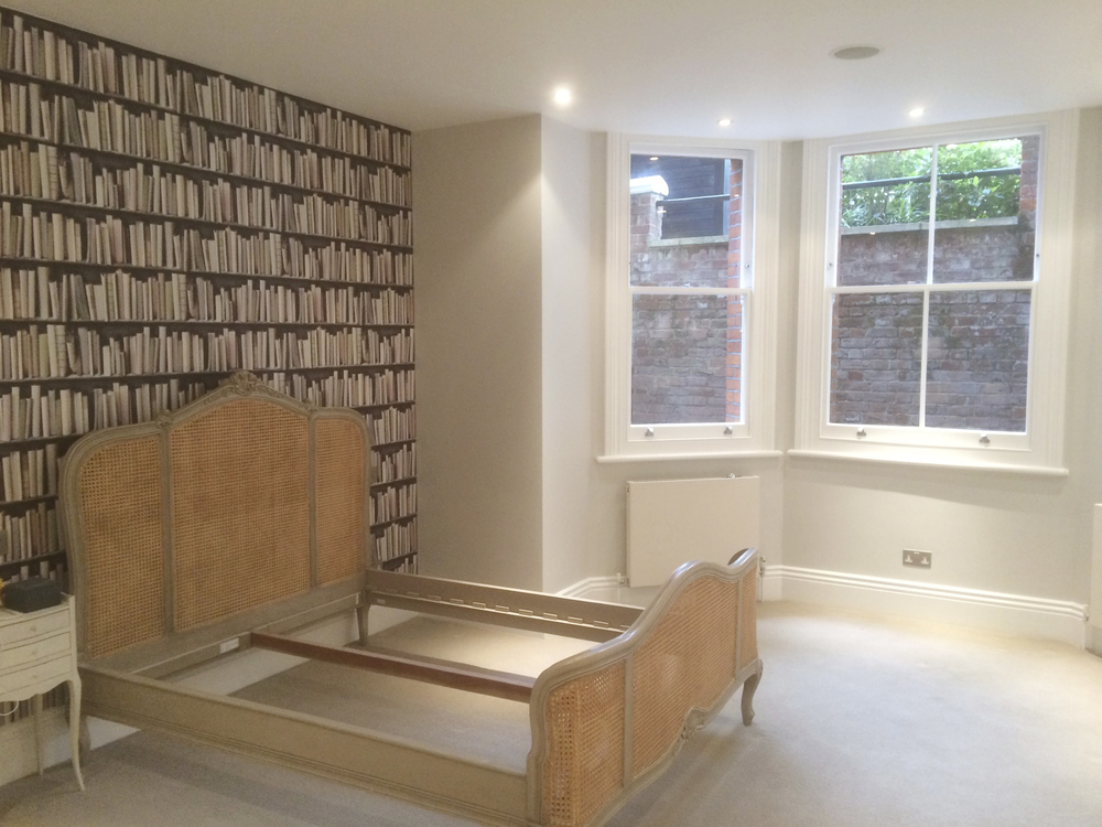 #NHRenovations #Painter #Decorator #London #PrimroseHill #Windows #Farrowandball #Farrow #Allwhite #LauraAshley #Wallpaper #Bookshelf
