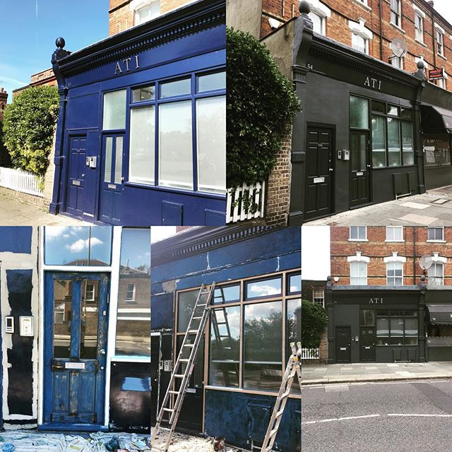 We had a lovely exterior shop front to do a few weeks back. Can you believe this shop front is one year old the first picture was another companies work! The previous decorators were even using interior filler outside and just didn't do the prep that was needed. The customer wasn't sure what colour to go for.  I knew they wanted a colour change so started using the dark grey undercoat...I had a feeling this would happen as it always does, the client really like the undercoat colour. Happy days colour selected had to use standard smooth masonry and then the same colour using the ultimate opaque exterior as we wanted a satin finish using oil based paint. #duluxselectdecorator #decorating #london #dulux #nhrenovations #professional