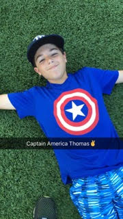 Captain America Thomas boy smiling