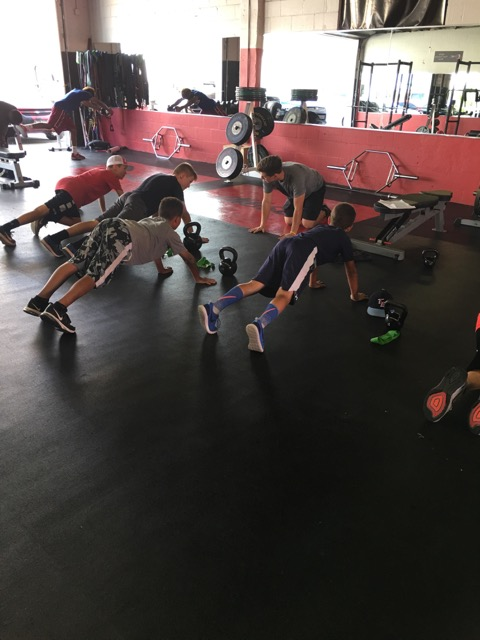 boys working out in a gym