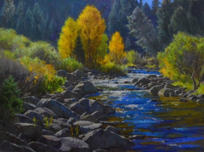 "Chris Morel, October Display, oil, 30"" x 40"""