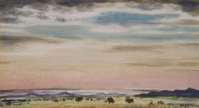 "Peter Hurd,  The High Plains , watercolor on paper, 7 3/4"" x 14"""