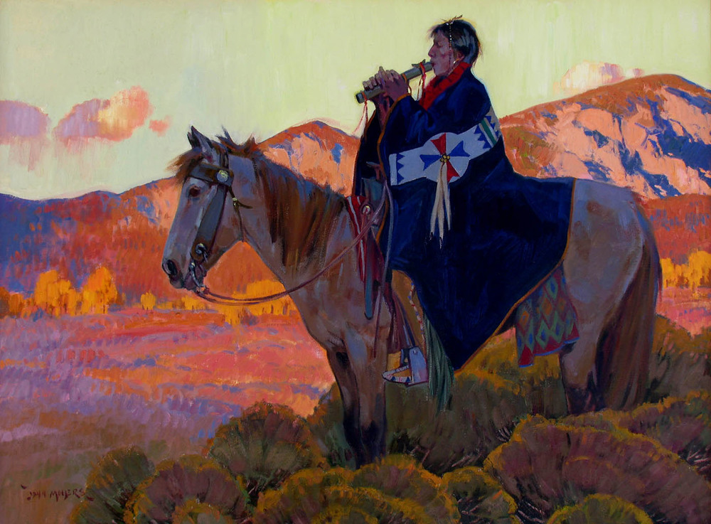 "John moyers, Sundown on Taos mountain, oil on canvas, 36"" x 48"""