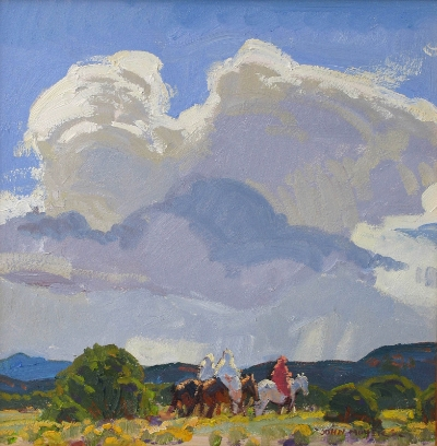 "John Moyers, August Sky, oil, 16"" x 16"""