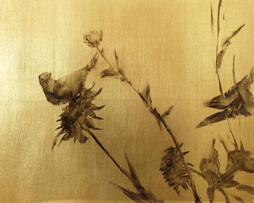 """Finch 2  Oil on metal leaf 8"""" x 10"""""""