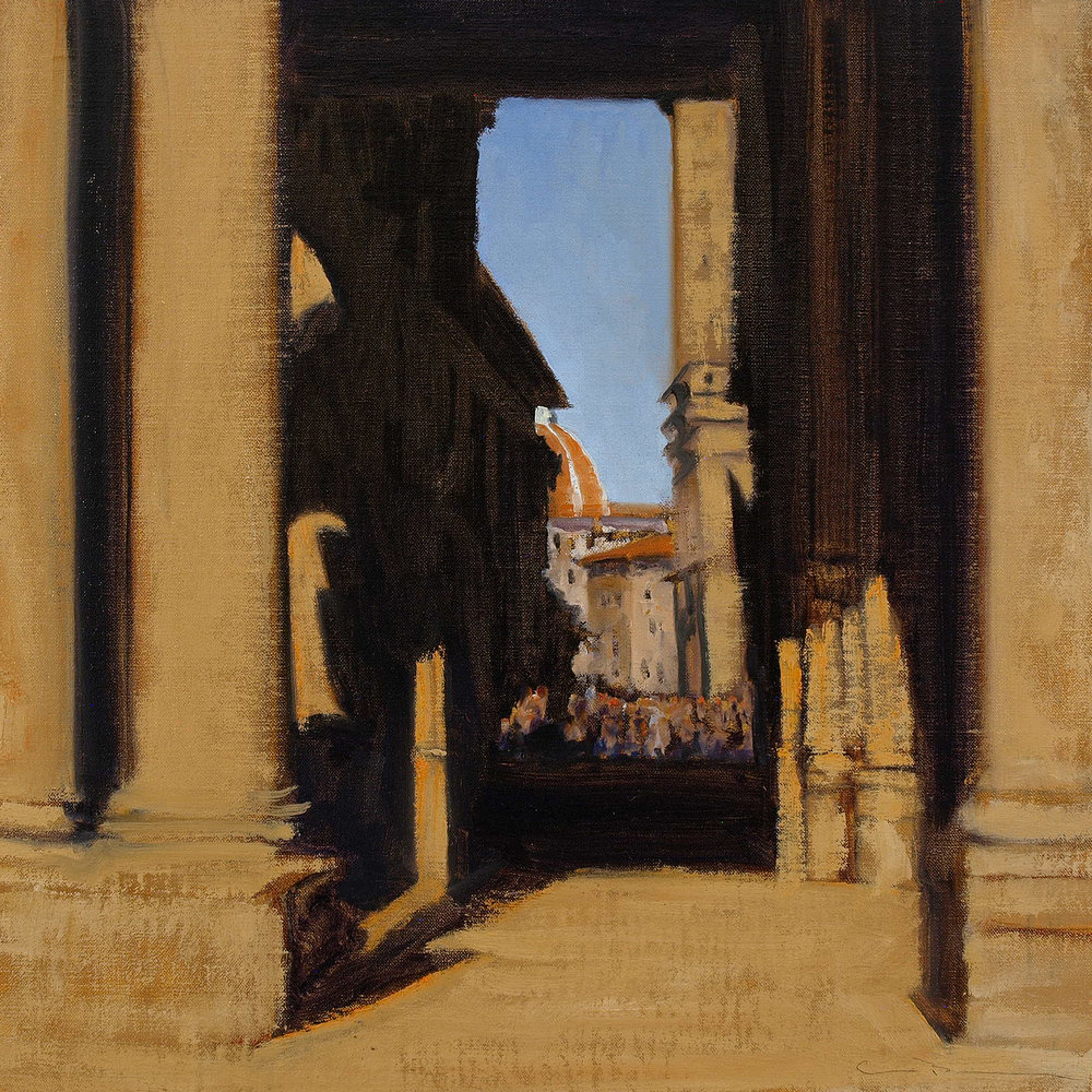 "Glimpse of the Duomo  Oil on linen 18"" x 18"""