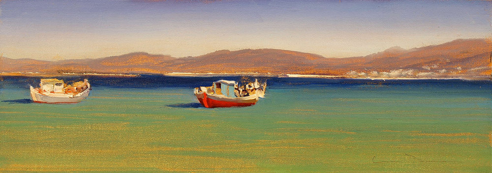 "Morning, Mykonos  Oil 6"" x 16"""