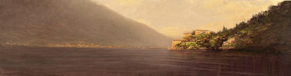 """Villa, Lake Como  Oil 16"""" x 58"""""""