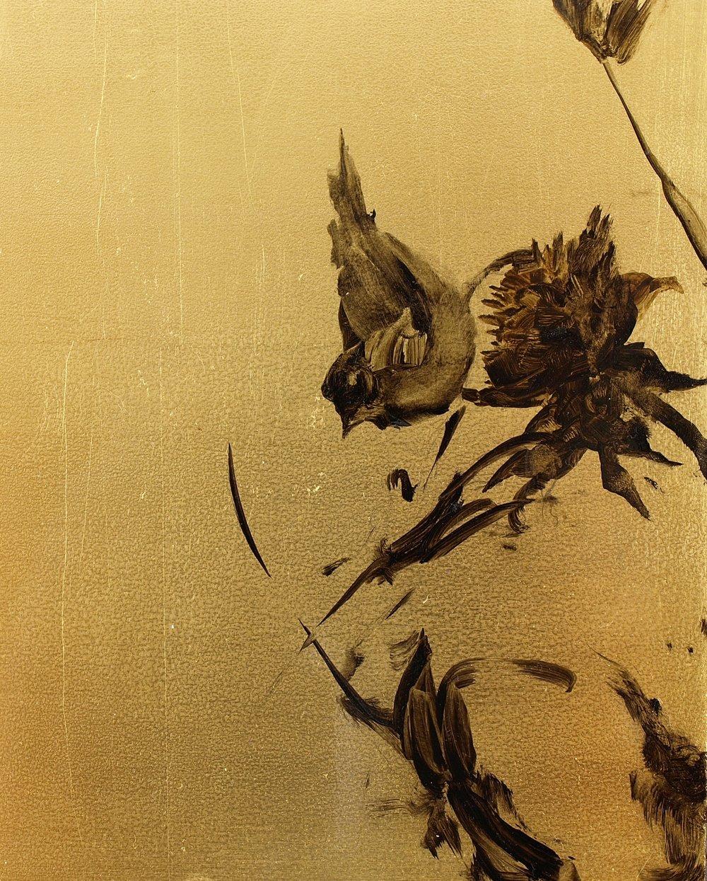 """Finch 1  Oil on metal leaf 10"""" x 8"""""""