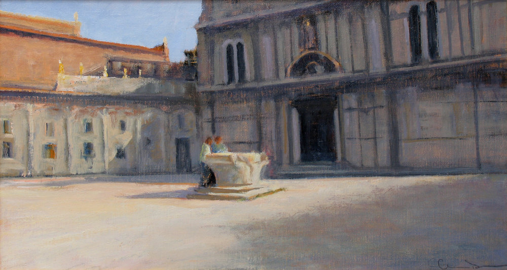 "Campo San Zuccaria  Oil on linen 12"" x 22"""