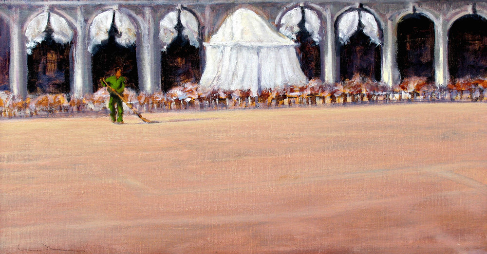 "Morning, Piazza San Marco  Oil on linen 12"" x 22"""