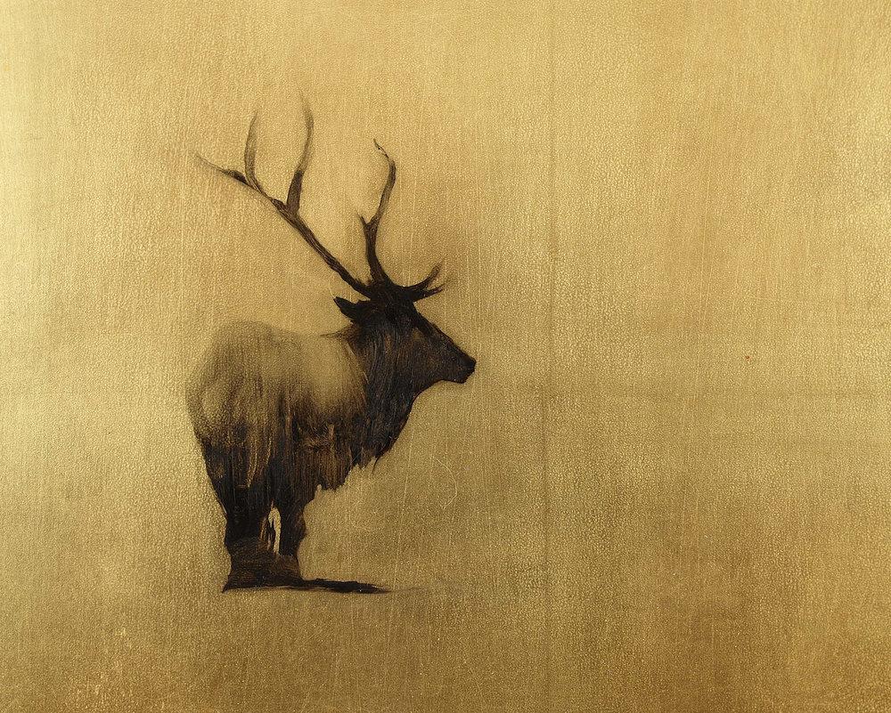 """Ahead of the Herd  Oil on metal leaf 8"""" x 10"""""""