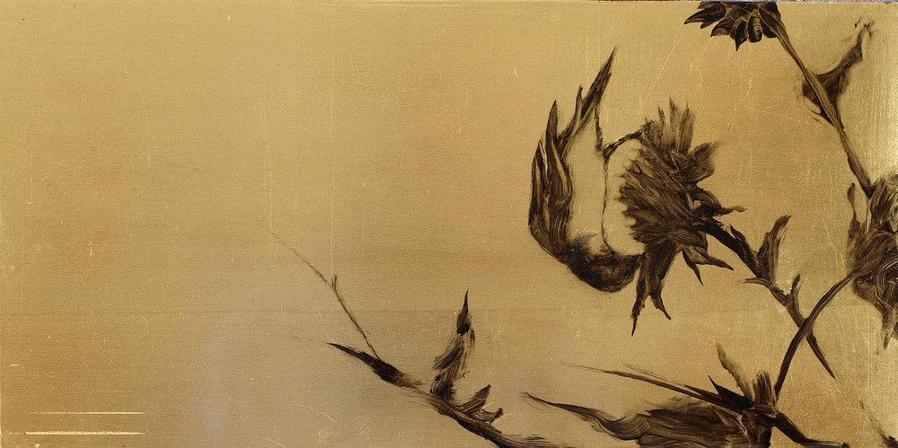 """Finch 3  Oil on metal leaf 9"""" x 18"""""""