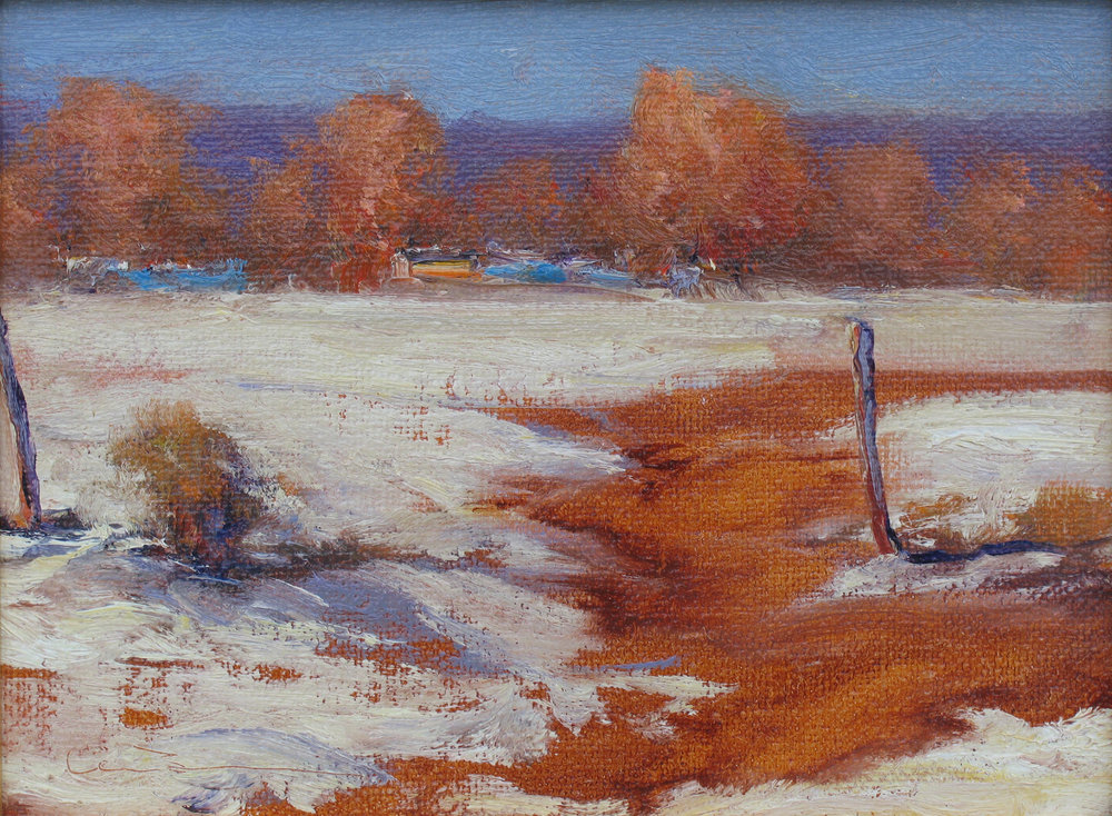"Winter, New Mexico  Oil on linen on panel 9"" x 12"""