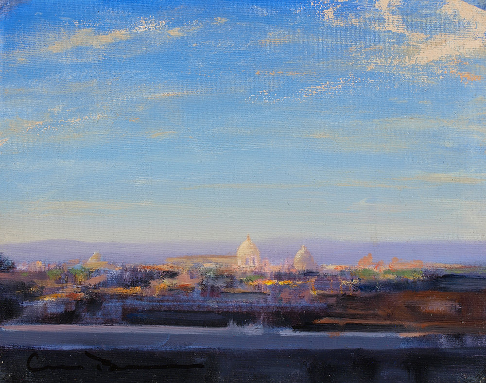 """View from Pincio Roma  Oil 8"""" x 10""""  SOLD"""