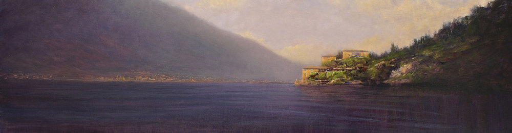 "Villa, Lake Como  oil on linen 16"" x 58"""