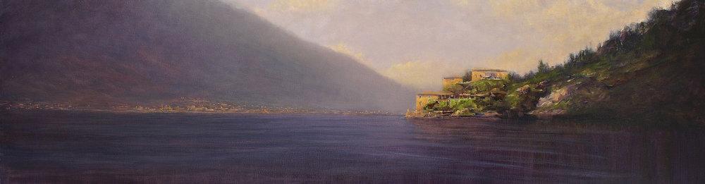 """Villa, Lake Como  oil on linen 16"""" x 58""""  SOLD"""