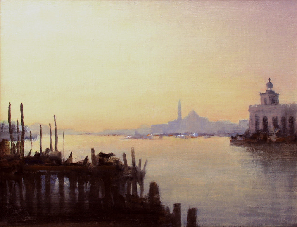 "Dawn, Venice  oil on linen 14"" x 18""  SOLD"