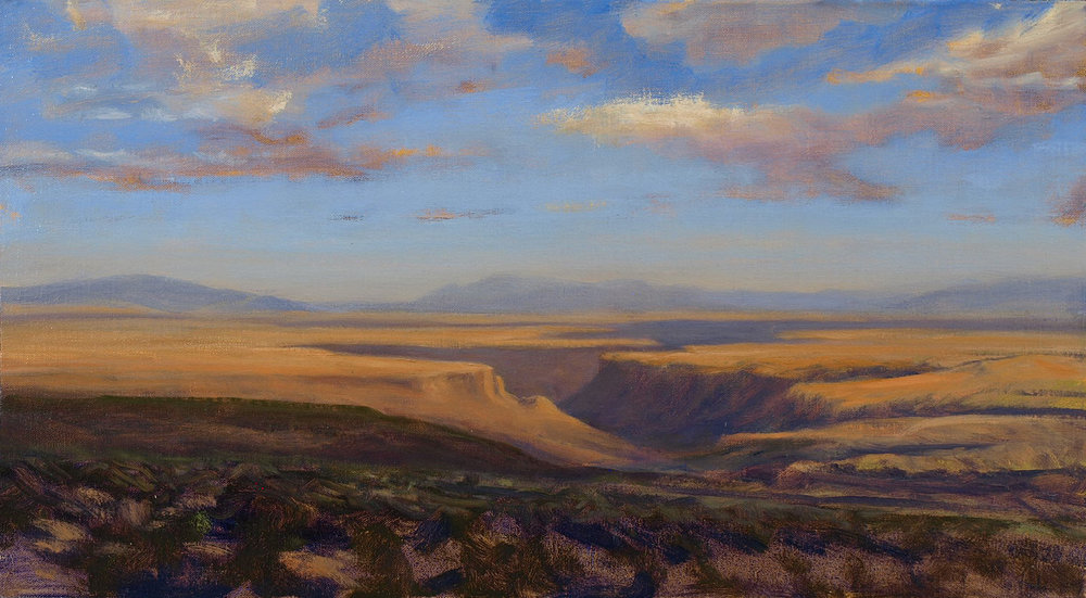 "Morning, Rio Grande Gorge  oil on linen 12"" x 22"""