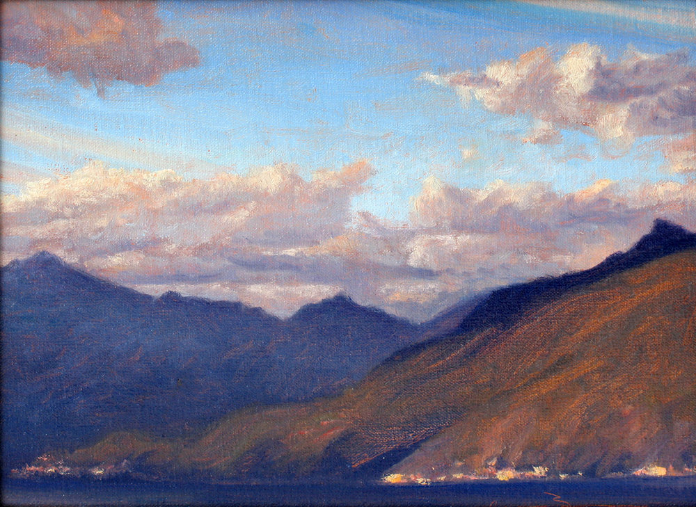 "View North of Bellagio  oil on linen on panel 9"" x 12"""