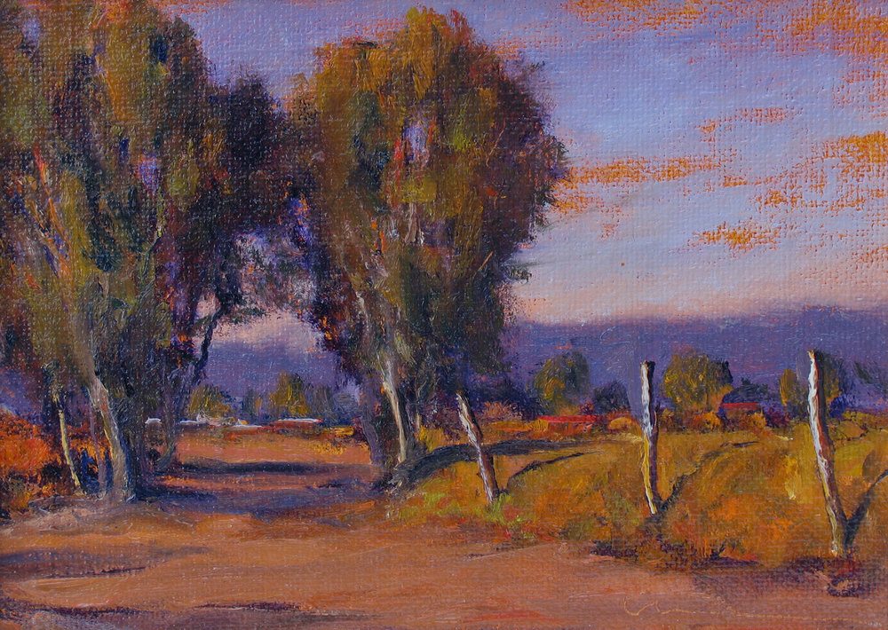 "Shady Lane  oil on linen on panel 9"" x 12"""