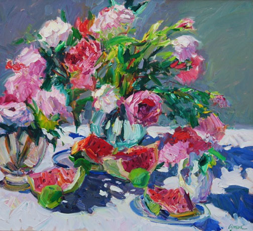 "WAlt Gonske, peonies and watermelon, 2010, oil on linen, 34"" x 38"" (SOLD)"
