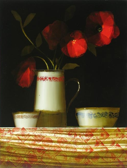 "Martin Mooney,  Oriental Poppies & Ceramics , oil on panel, 48"" x 36"""