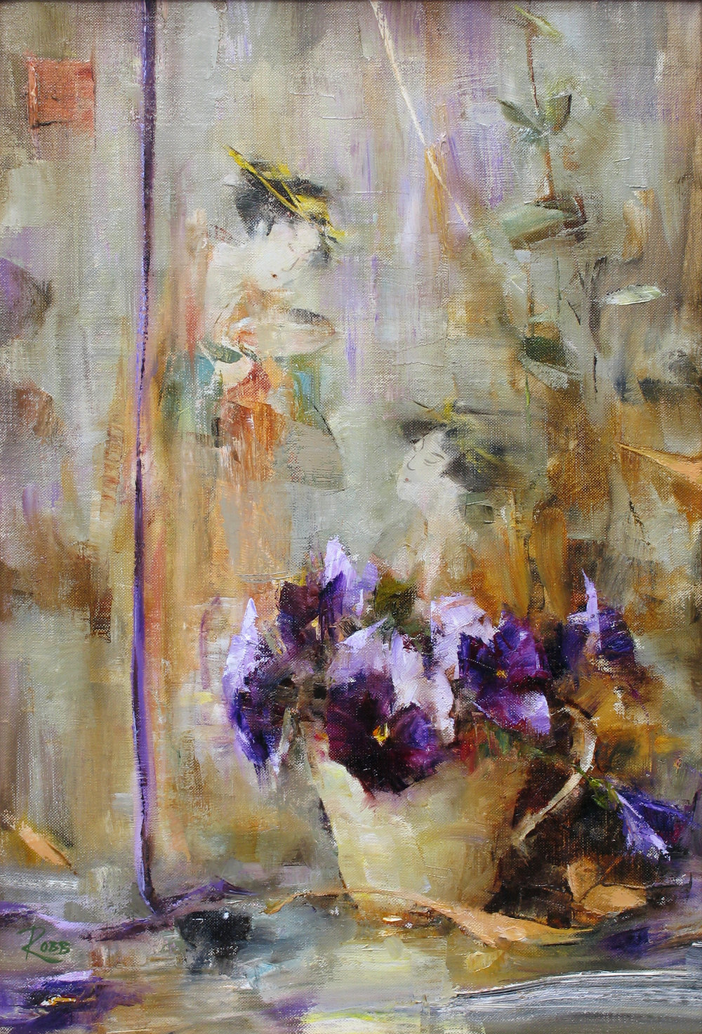 "Laura Robb,  Bouquet and Asian Tapestry,  oil on linen, 18"" x 12"""