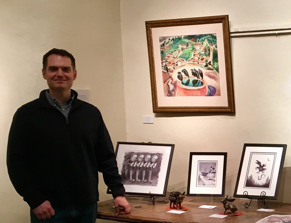 Artist Robert Carr (above), with his sculptures and drawings, at our most recent Cider Friday.