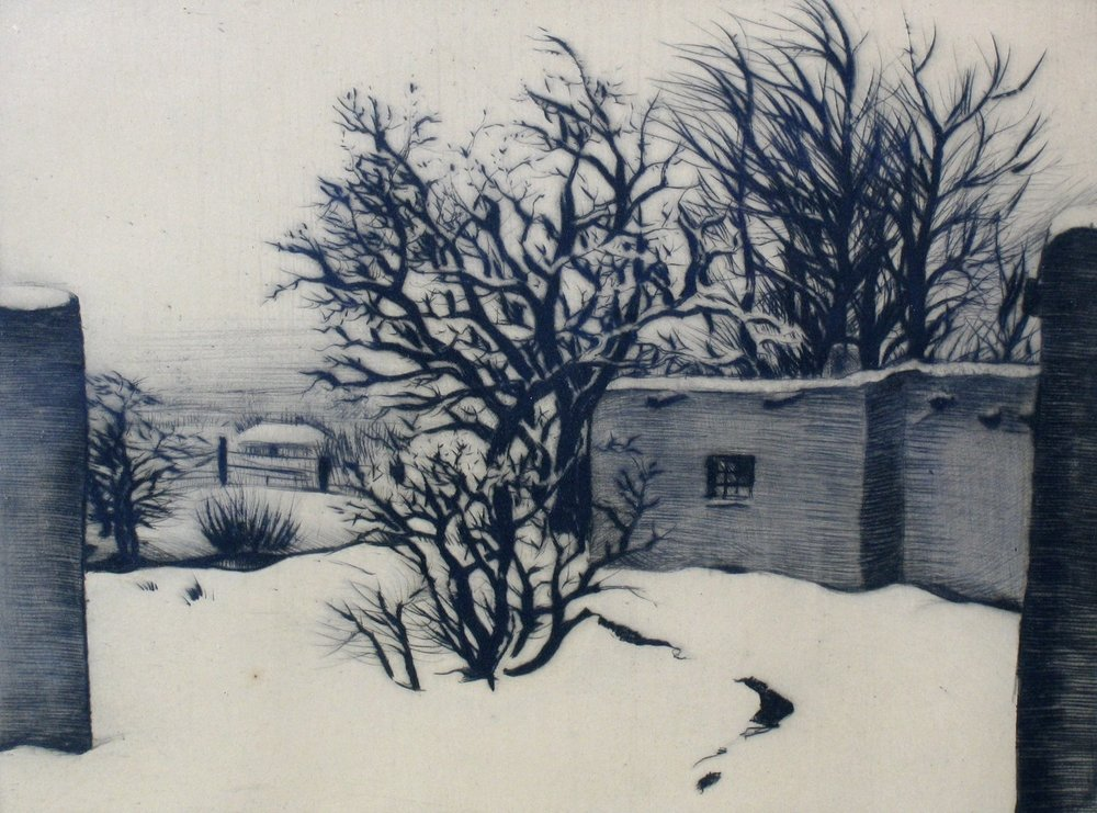 Apricot and Chokecherry Tree , 1935, drypoint, 5 7/8 x 7 3/8 inches