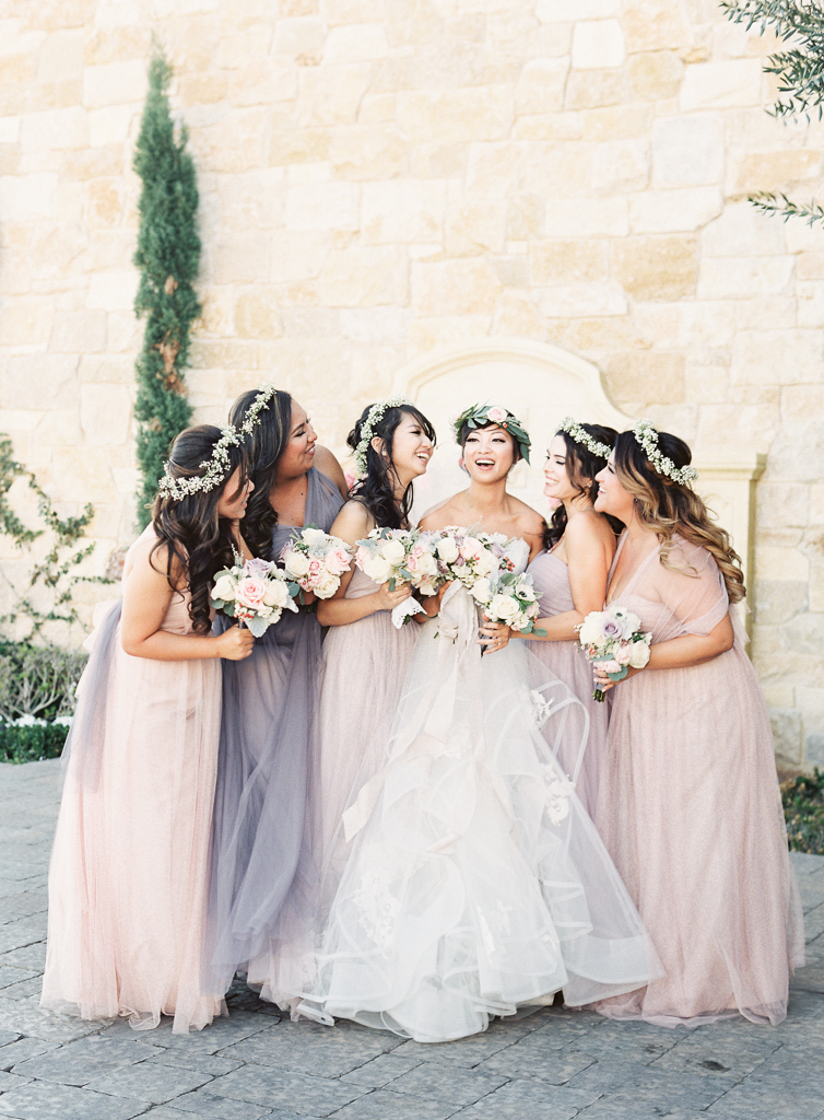 Jenny Yoo Bridesmaids Dresses in a Group Laughing