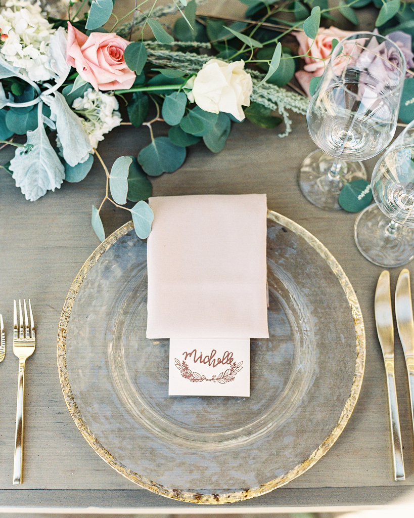 Gold Accent Plate and Cutlery with Pink Napkin for Wedding Reception