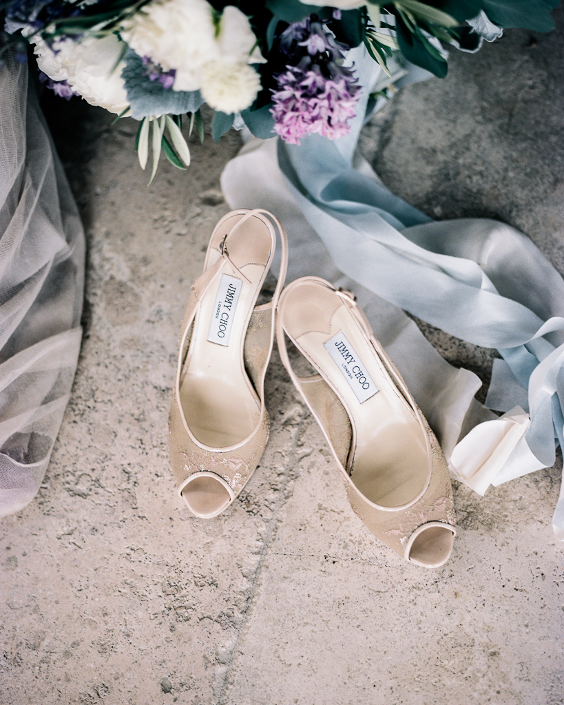 Nude Jimmy Choo Wedding Shoes with Silk Dyed Ribbon