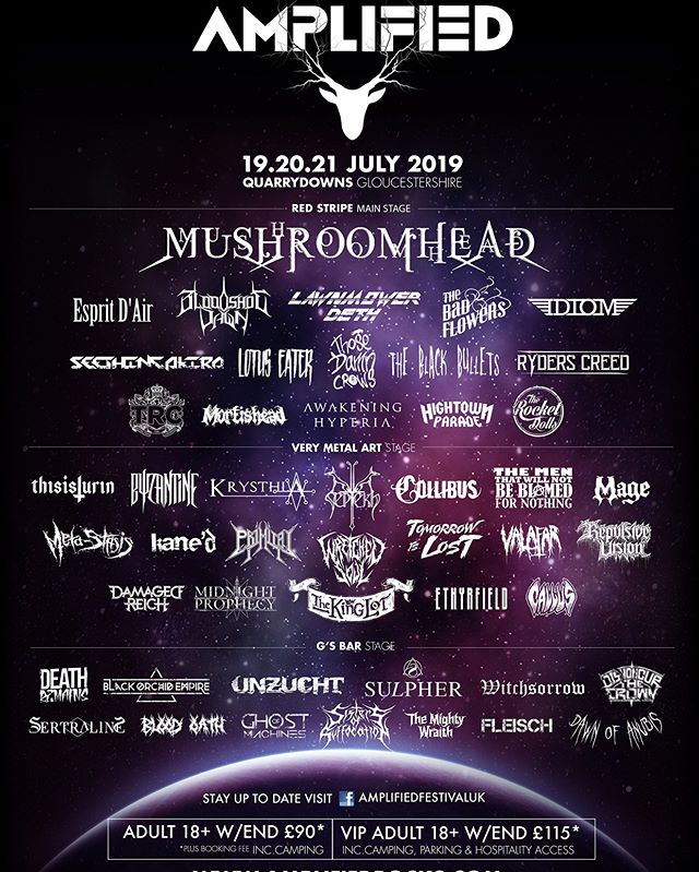 Excited to announce we're playing @amplifiedrocks 2019 on the @verymetalart stage!  Tickets on sale now: www.amplifiedrocks.com/tickets  #Mushroomhead #AmplifiedFestival #Live #HeavyMetal