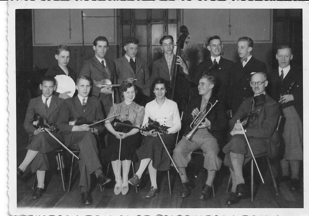 Munich, 1937 - the amateur orchestra where Peter (front row, second from left) met his future wife, Johanna (front row, fourth from left).