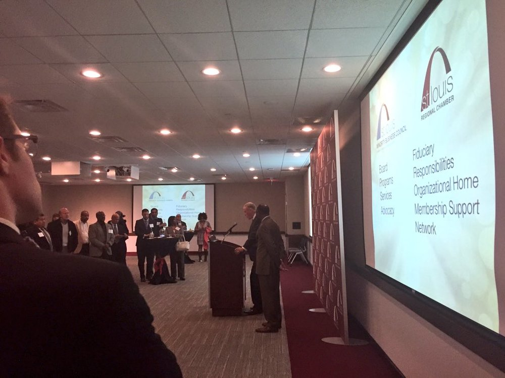 Joe Reagan, President and CEO of the St. Louis Regional Chamber introducing the new Board of Directors of the St. Louis Minority Business Council, and the Council's new strategic partnership with the Regional Chamber.
