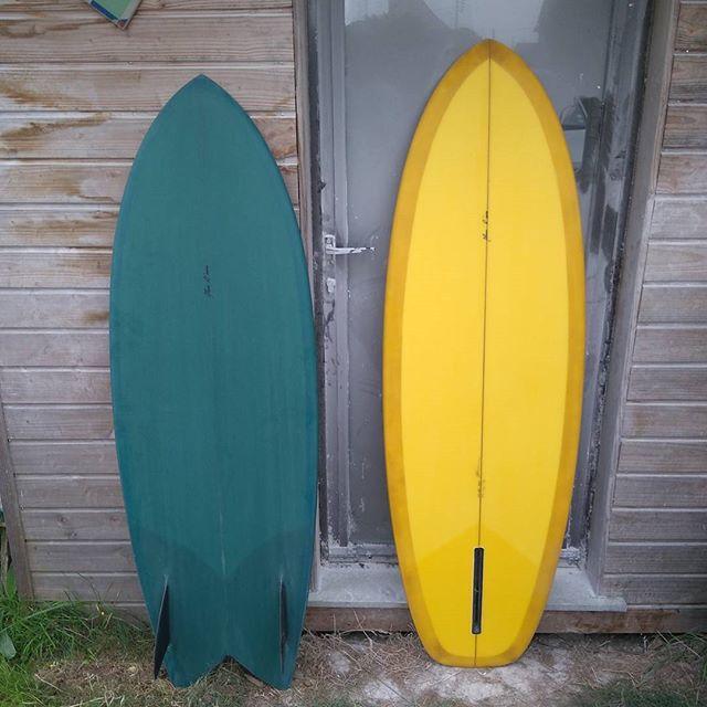 5'4&5'7 bottom #twinfin #singlefin #handshapedsurfboards  #plumedavionsurfboards