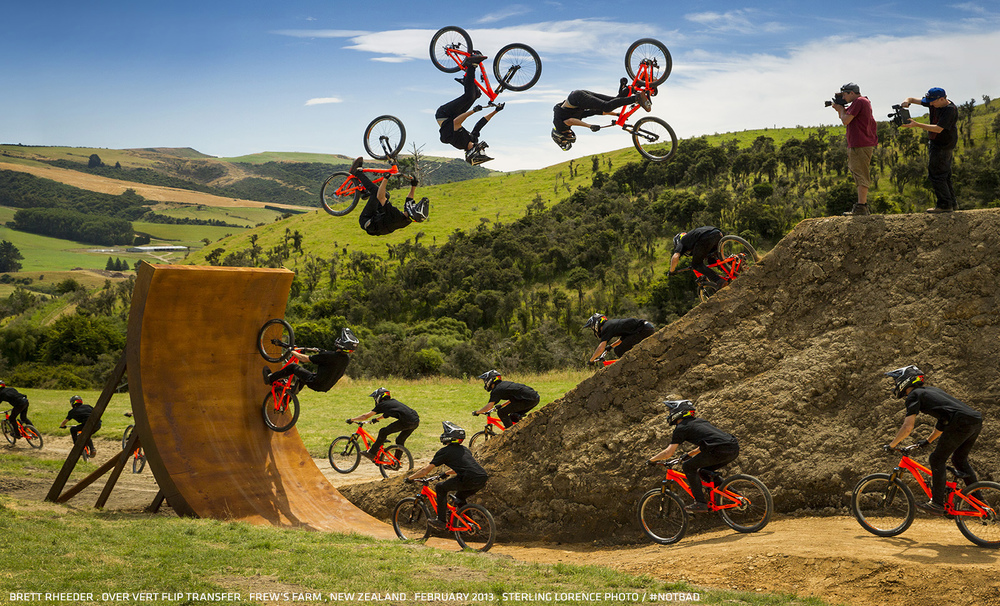 Brett Rheeder goes over vert on the Frew Farm in Winton, New Zealand.  Photo by Sterling Lorence