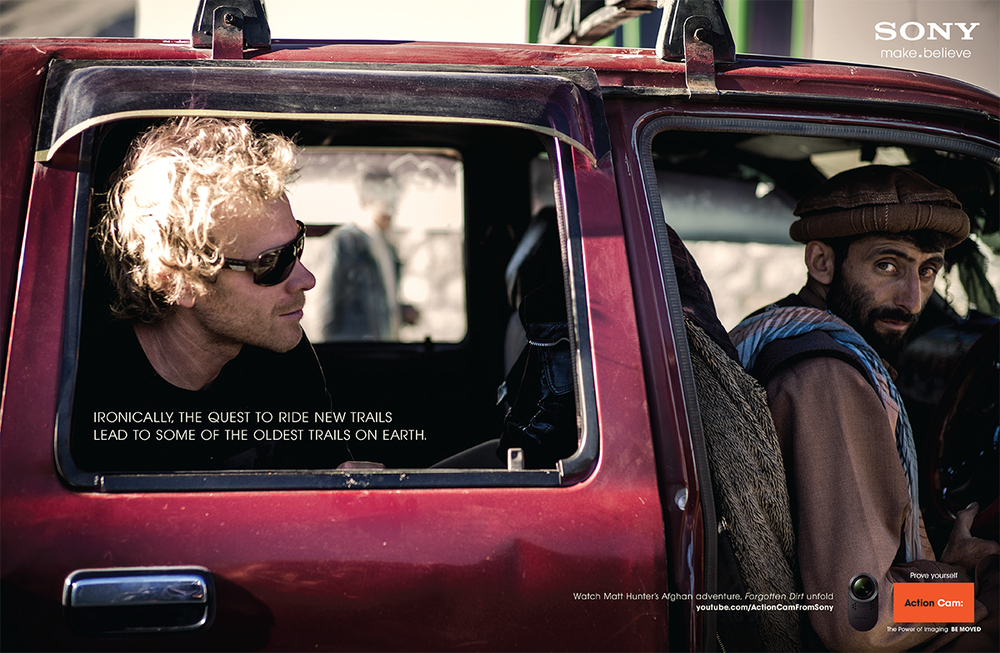 Two page advertisement in Bike Magazine from our trip to Afghanistan for Forgotten Dirt. Photo: Dan Milner