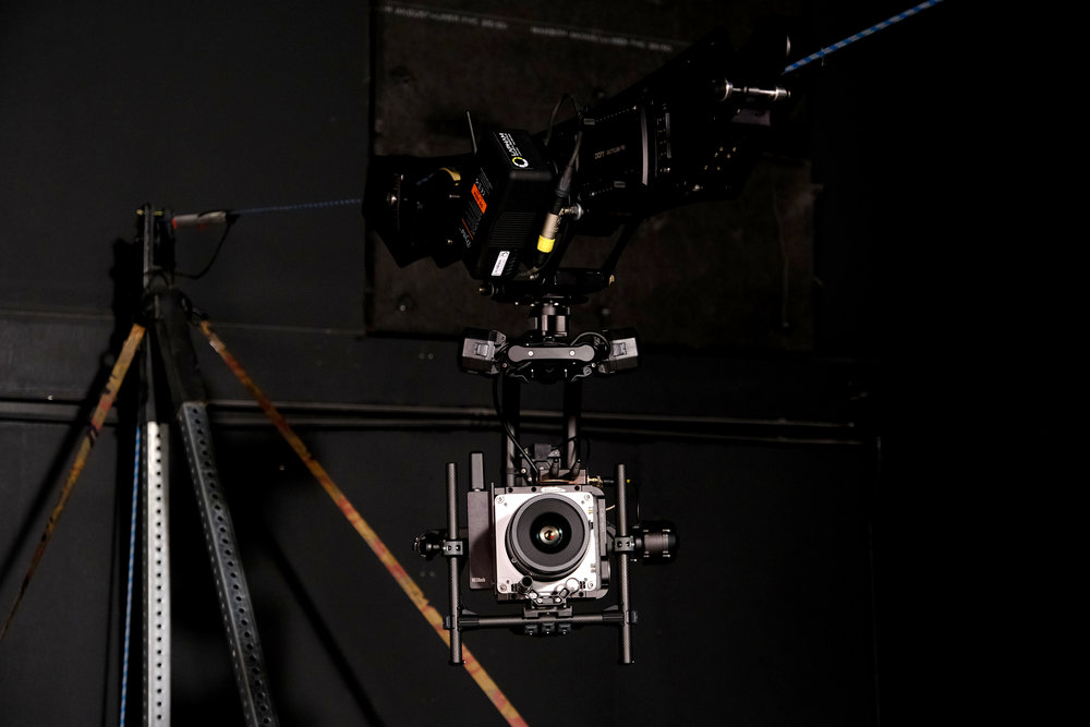 The Phantom VEO-4K high-speed camera rigged with Mōvi Pro stabilizer and mounted to a custom-built cable cam system