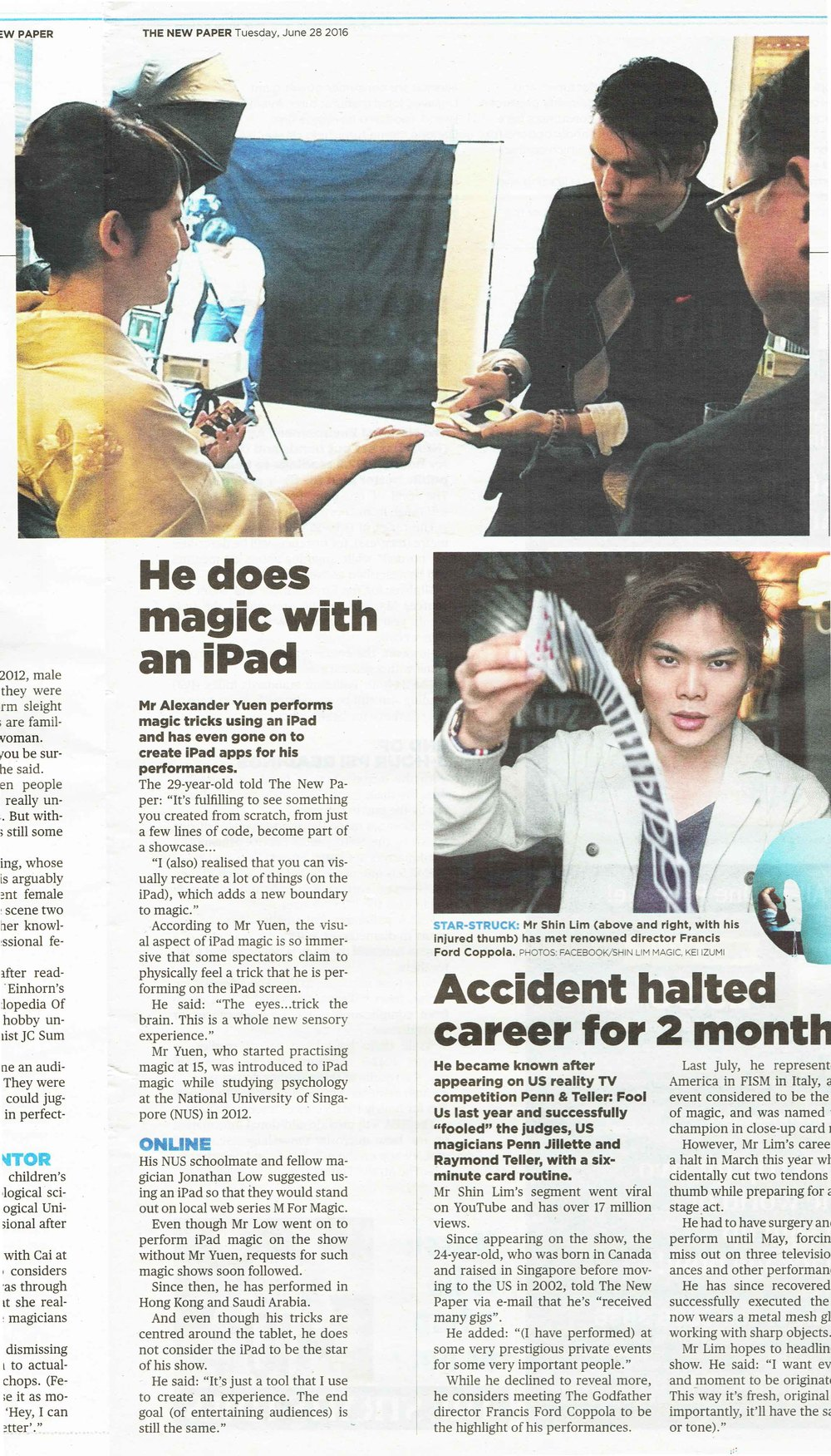 iPad Magician Singapore Newspaper