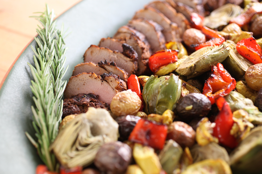 Pork tenderloin with roasted vegetables.