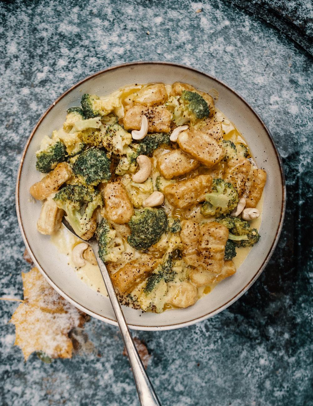Butternut Squash Gnocchi - in a Cashew Cream & Broccoli sauce.