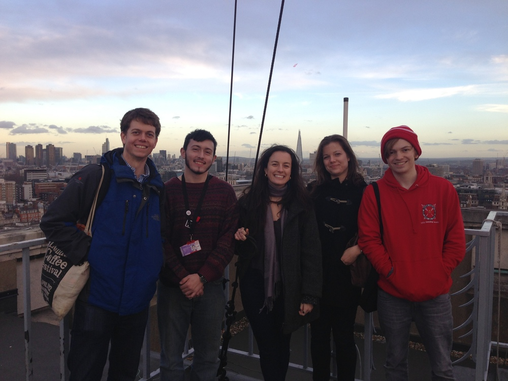 The team poses on top of Senate House