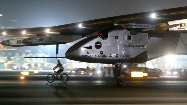 The Solar Impulse 2 landing after the last stretch of its worldwide journey, courtesy of BBC News  ³
